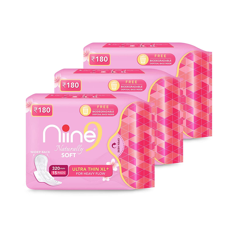 NIINE   Niine Naturally Soft Ultra Thin XL+ SUPER SAVER PACK Sanitary Napkins