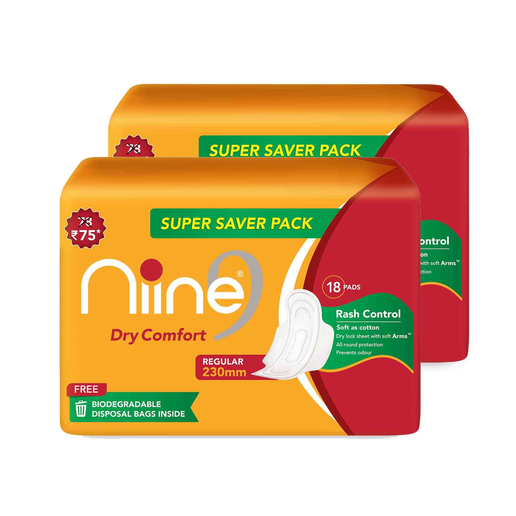 NIINE   Niine Dry Comfort Regular SUPER SAVER PACK Sanitary Napkins for Women