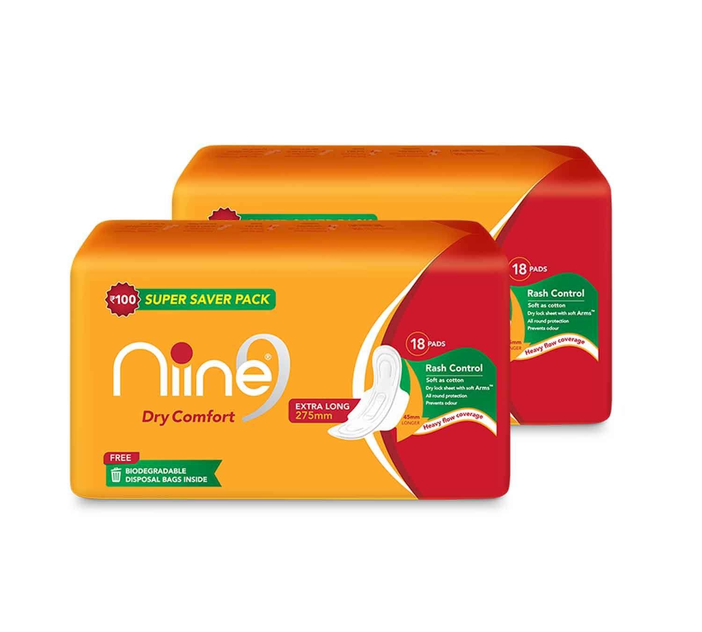 NIINE | Niine Extra Long Sanitary Pads for Women (Pack of 2)