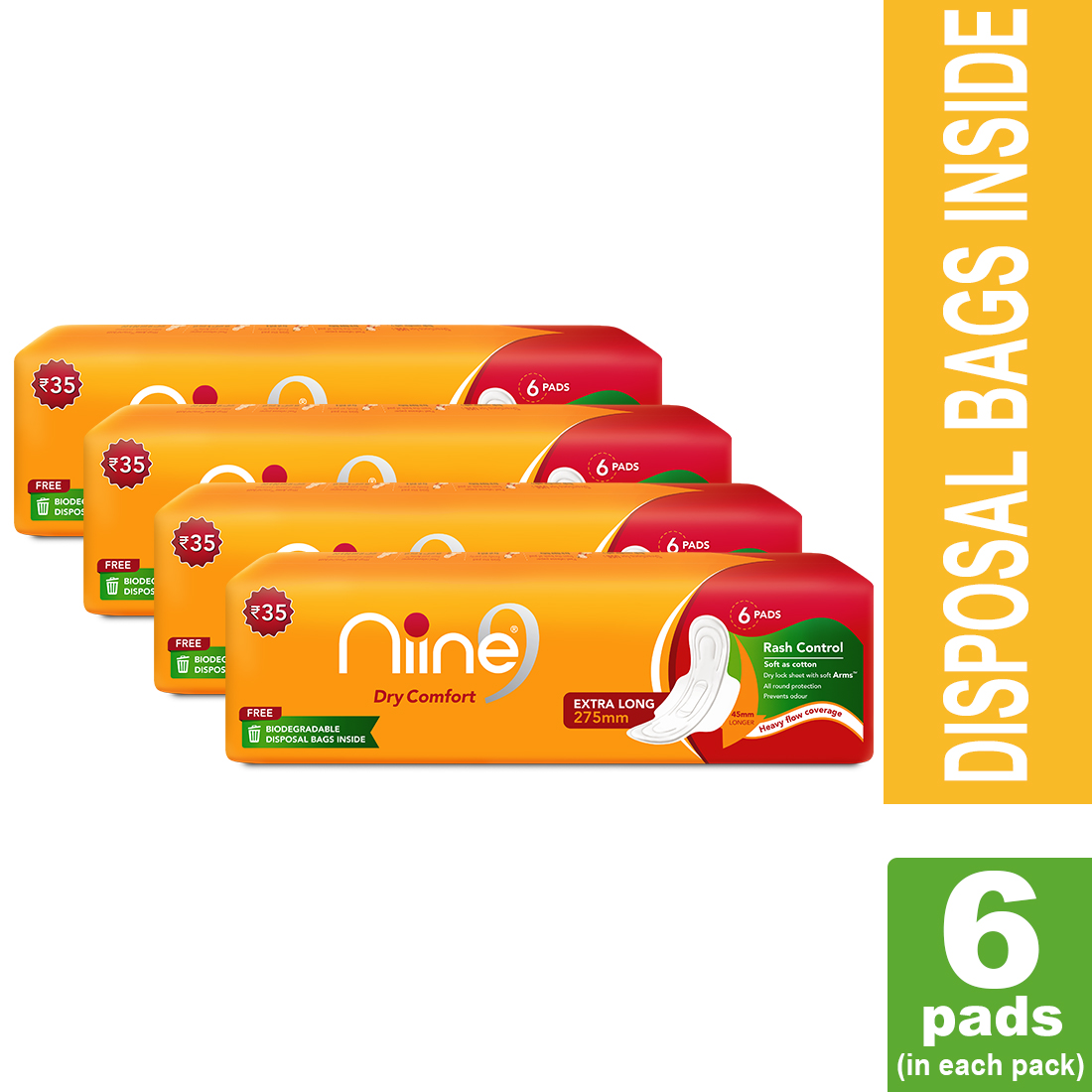 NIINE | Niine Extra Long Sanitary Pads for Women (Pack of 4)
