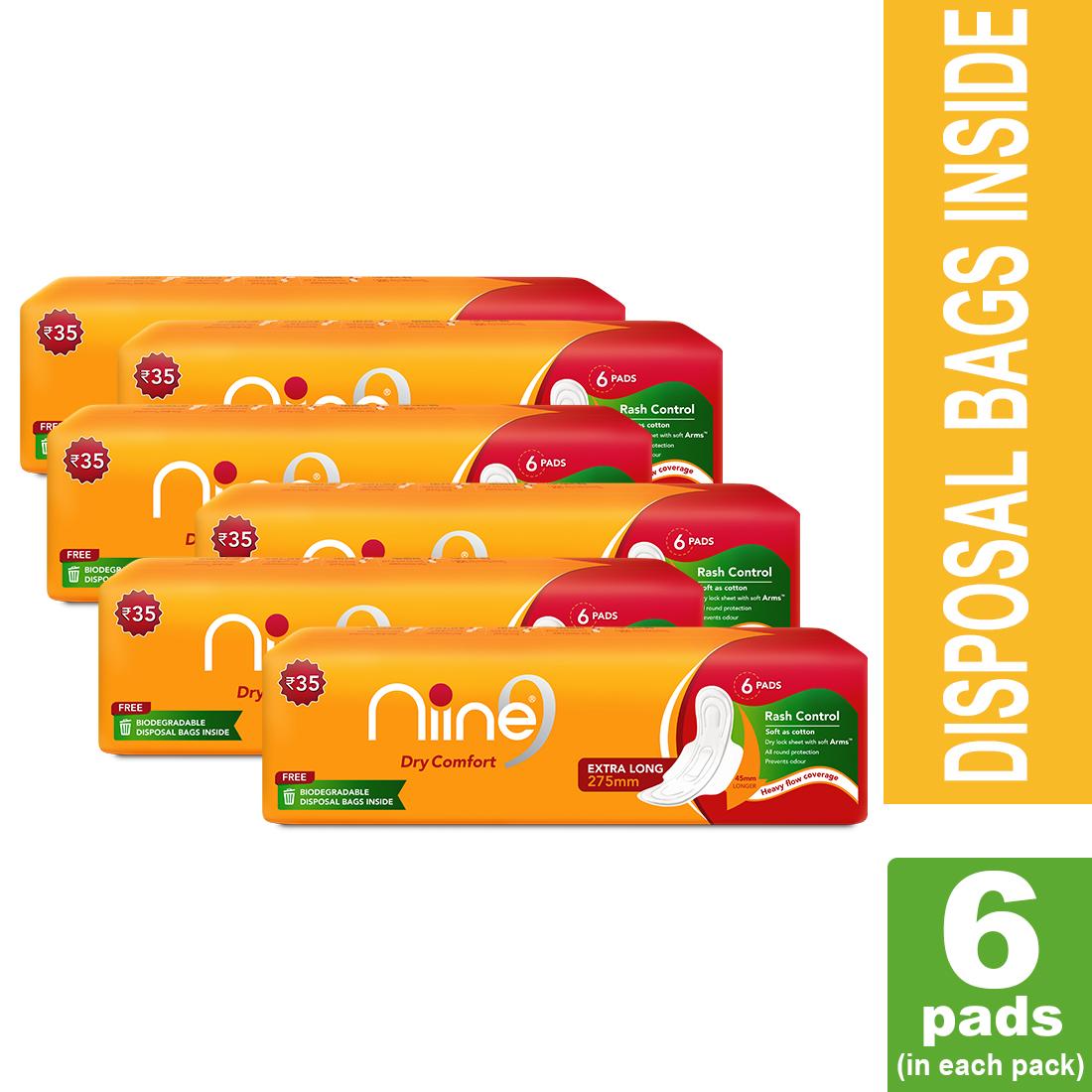 NIINE | Niine Extra LongSanitary Pads for Women (Pack of 6)