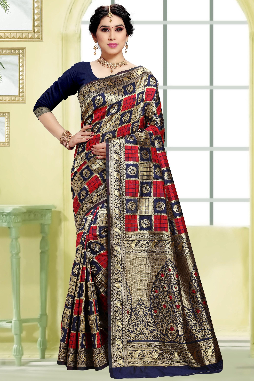 POONAM TEXTILE | Women's Checkered Woven Banarasi Art Silk Saree (Navy)