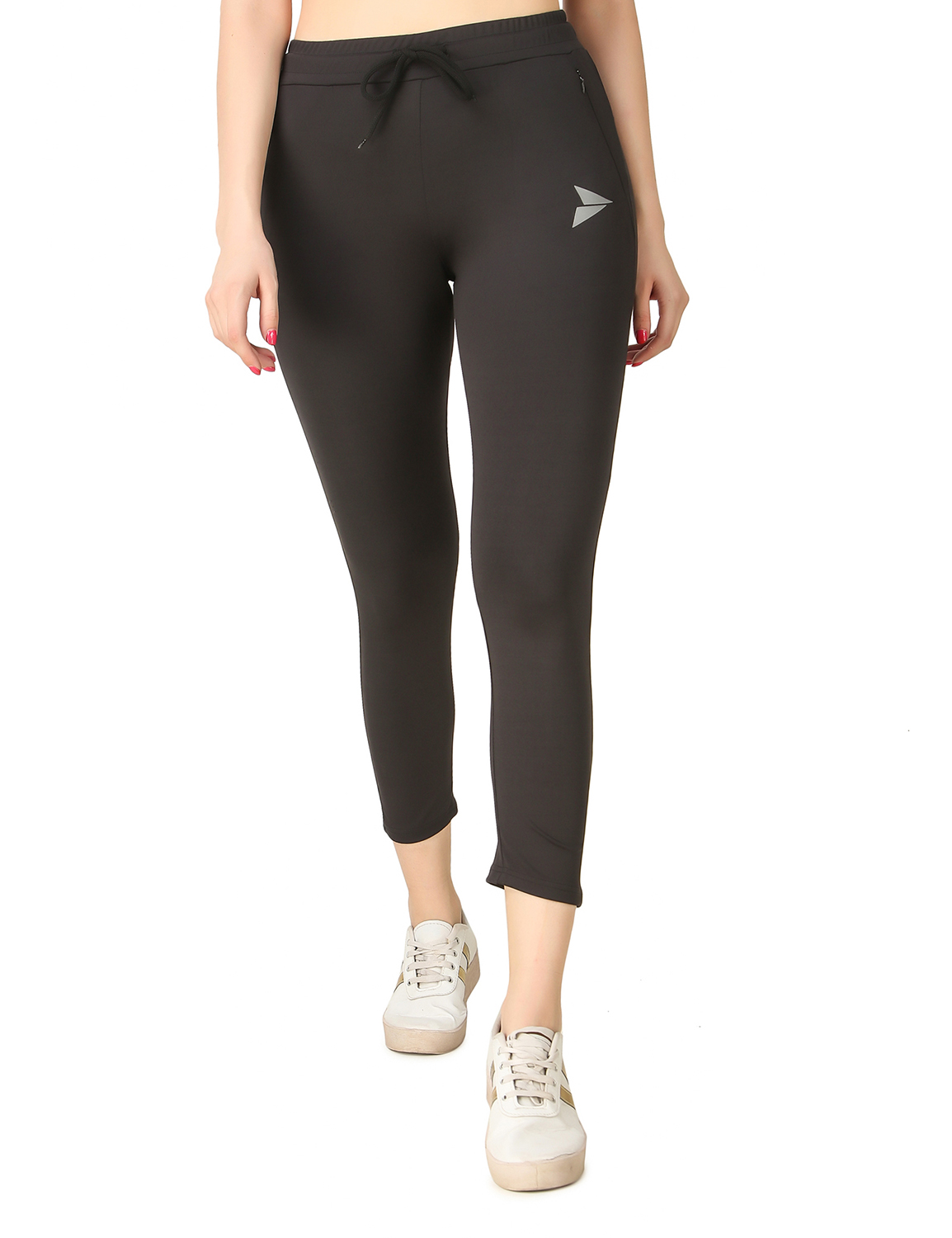 Fitinc | Fitinc Women Black Trackpant with Concealed Zipper Pockets and Drawstring
