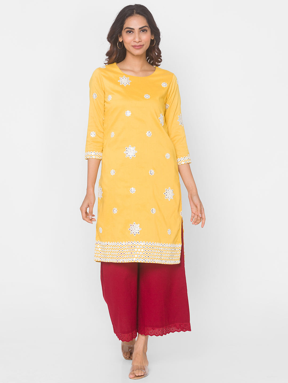Ethnicity | Yellow Women Semi Festive Blended Kurta