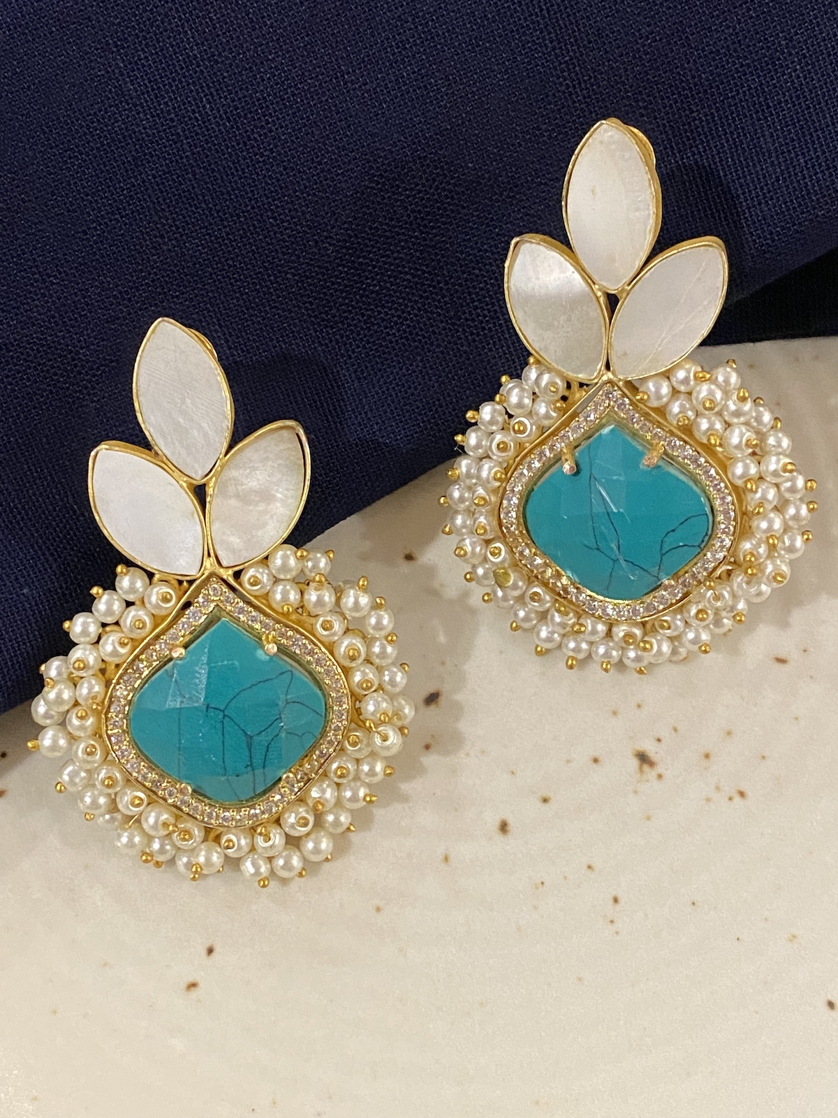 Swabhimann Jewellery | Swabhimann Anvi Druzy Earrings with Ferozi and White Stones