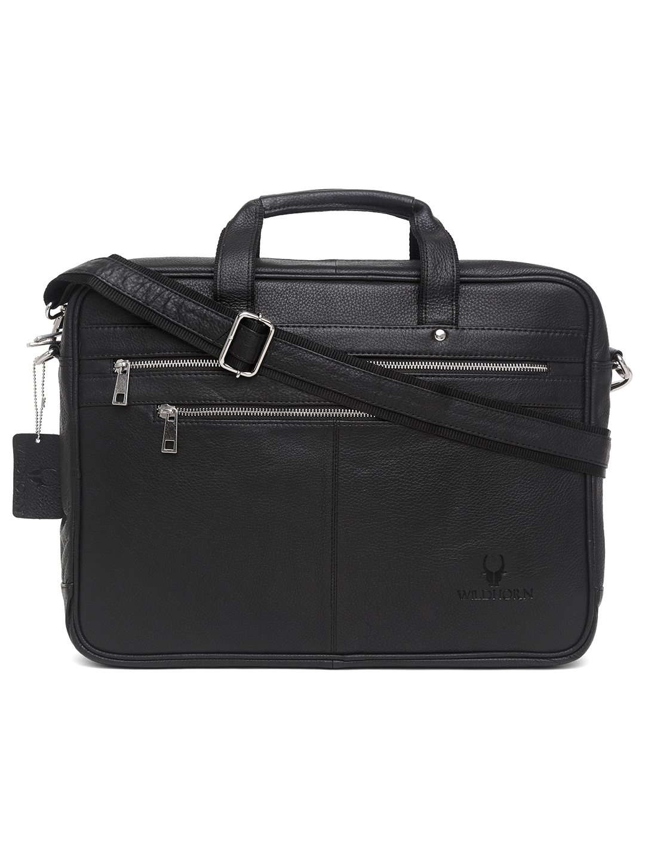 WildHorn | WildHorn 100% Genuine Leather Black Laptop Bags for Men