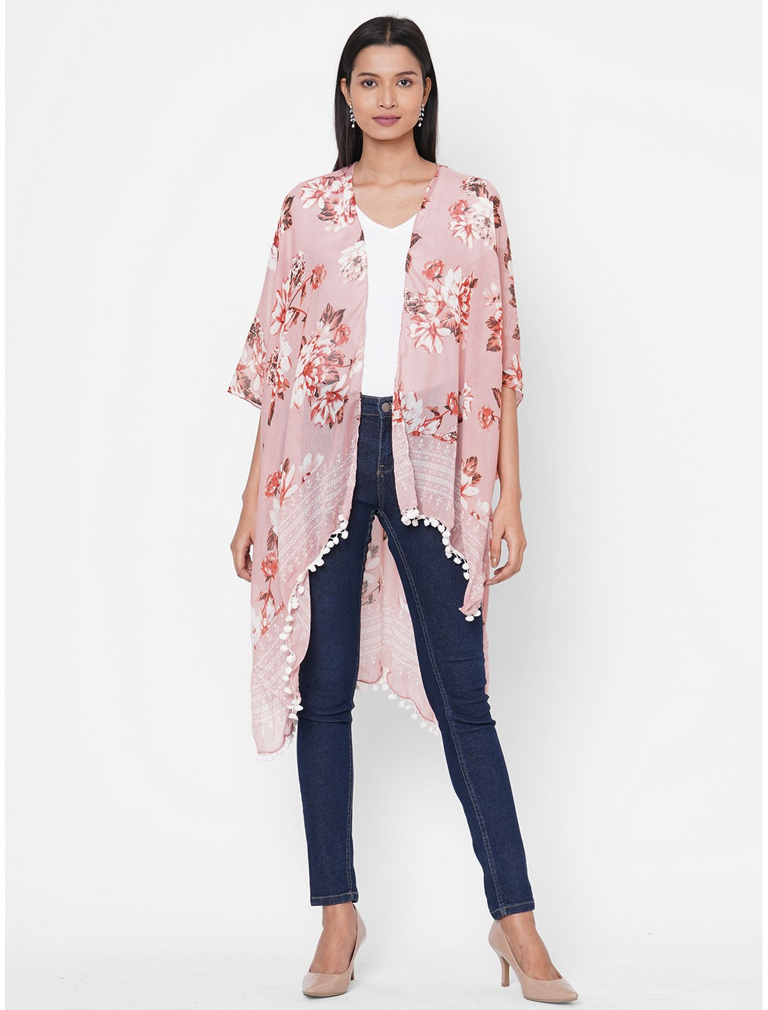 Get Wrapped   Get Wrapped Pink Printed Kimono with fancy Pom Pom for Women