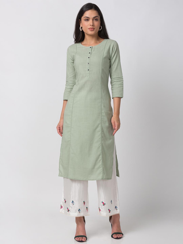Ethnicity | Ethnicity Mint Green Cotton Women Kurta
