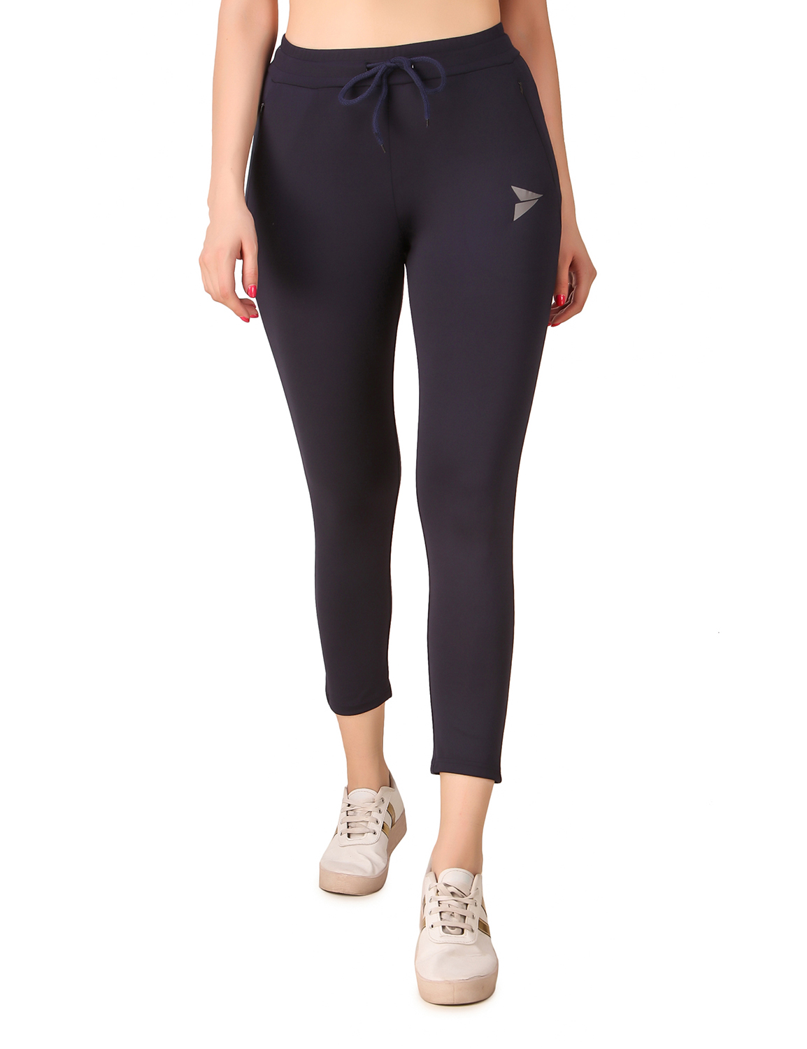 Fitinc | Fitinc Women Navy Blue Trackpant with Concealed Zipper Pockets and Drawstring
