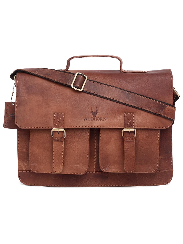 WildHorn   WildHorn 100% Genuine Leather Tan Laptop Bags for Men