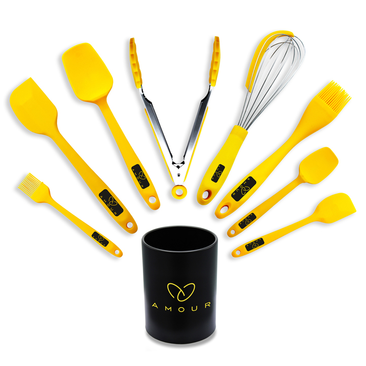 Amour | Amour Ultra Premium Silicone Spatula 9 Pcs Set, Yellow Rubber Spatulas Heat Resistant Kitchen Utensils with Holder, For Cake Cream Butter Jam, Flexible Head & Ergonomic Handle
