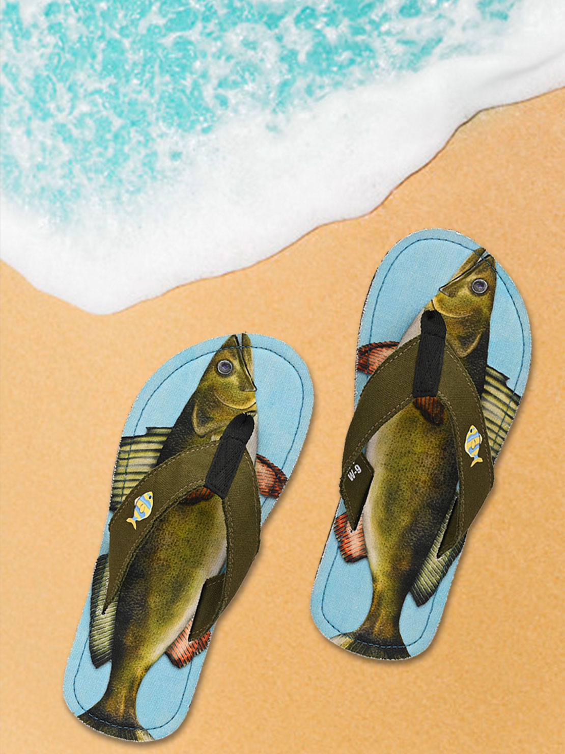 Beachcomber Blue Water | Beachcomber Blue Water Walleye Unisex Canvas Flip Flops