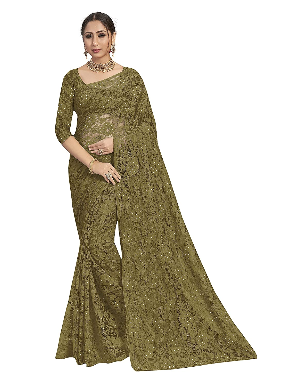 POONAM TEXTILE | Women's Olive Green Knit Brasso Saree With Blouse Piece