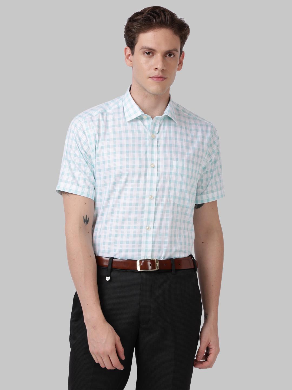 Park Avenue   Park Avenue Medium Green Regular Fit Shirt