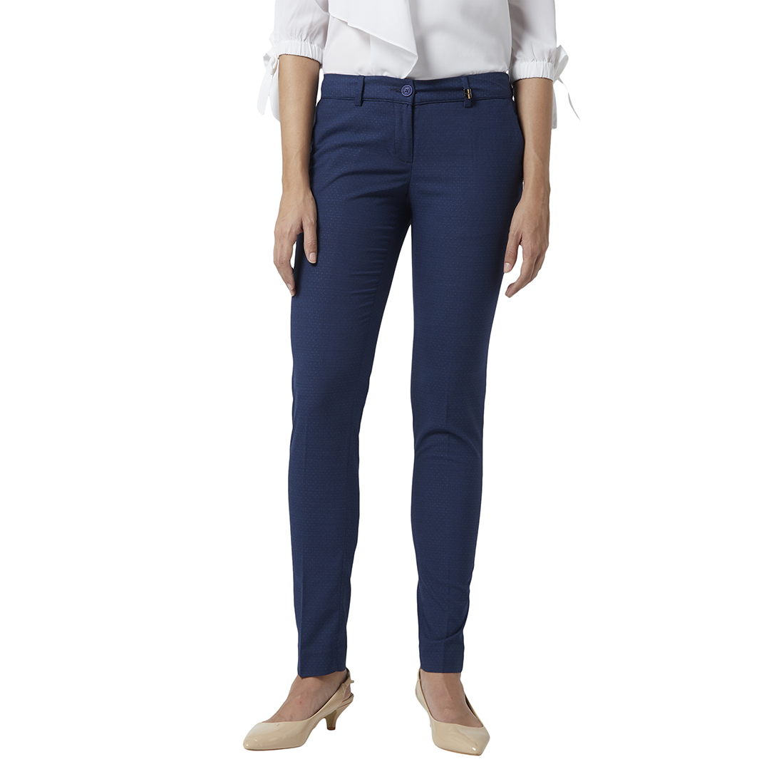 Park Avenue   Park Avenue Women Dark Blue Tapered Fit Trouser