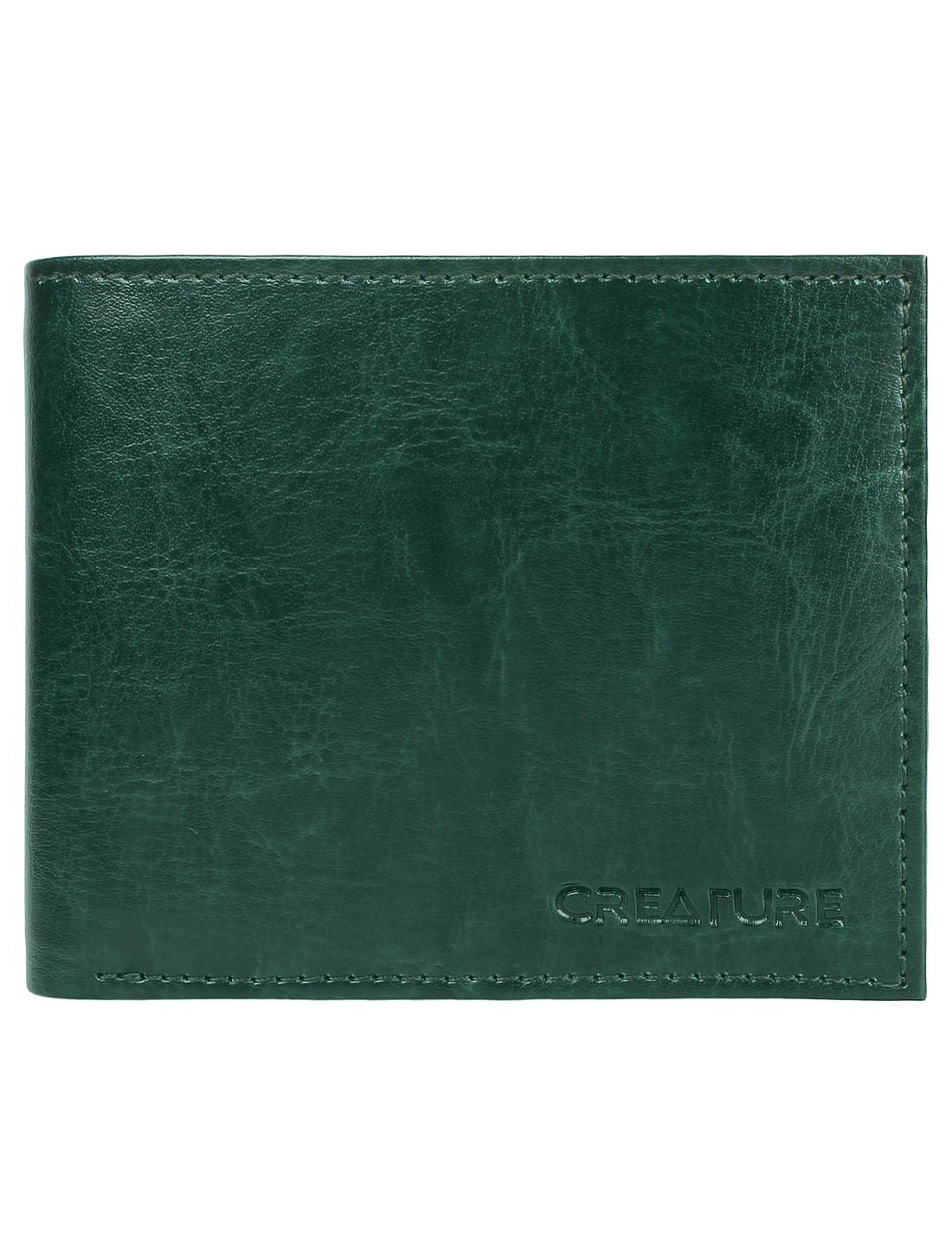 CREATURE   CREATURE Classic Bi-Fold Pu-Leather Green Wallet with Multiple Card Slots for Men