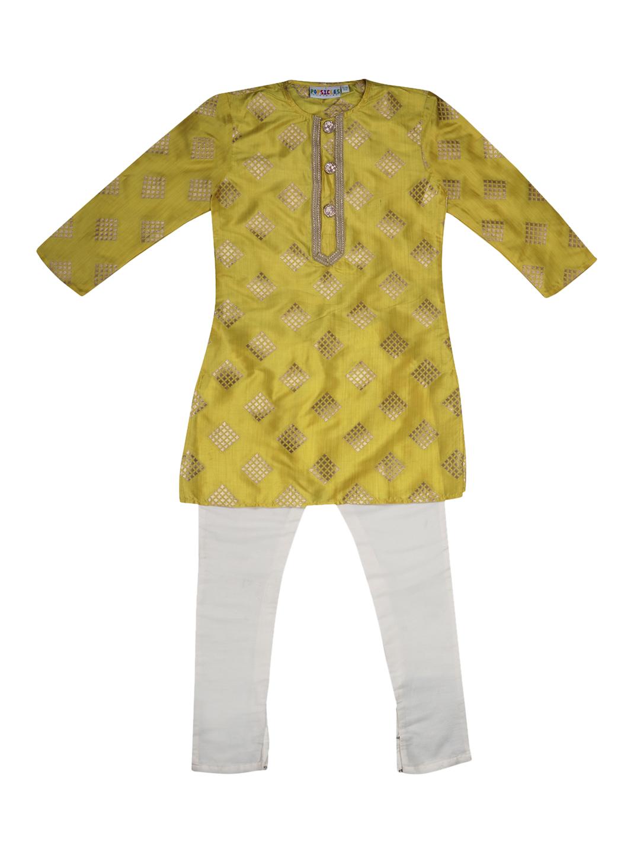 Popsicles Clothing | Popsicles Boys Cotton Silk Mahogany Kurta Pyjama set - Maroon & Yellow