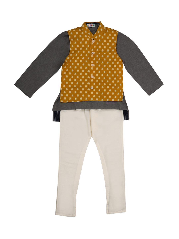 Popsicles Clothing | Popsicles Yellow Smoke 3Piece Kurta Set Regular Fit For Boys