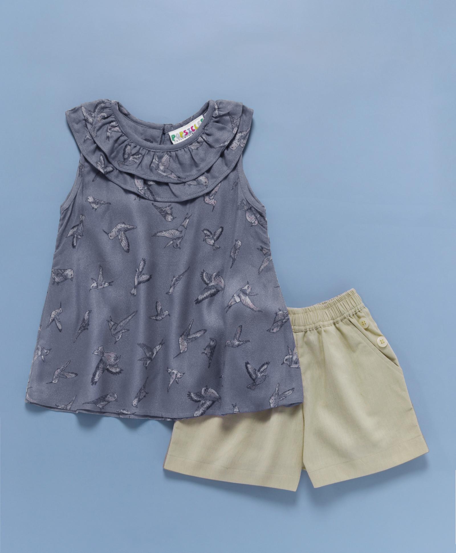 Popsicles Clothing   Popsicles Bird Flock Shorts Set Regular Fit Dress For Girl
