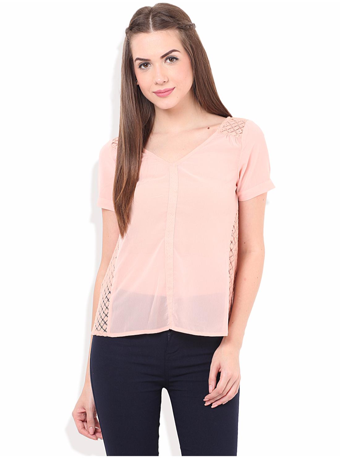 Porsorte   PORSORTE Women's  Polyester Solid Pink Top