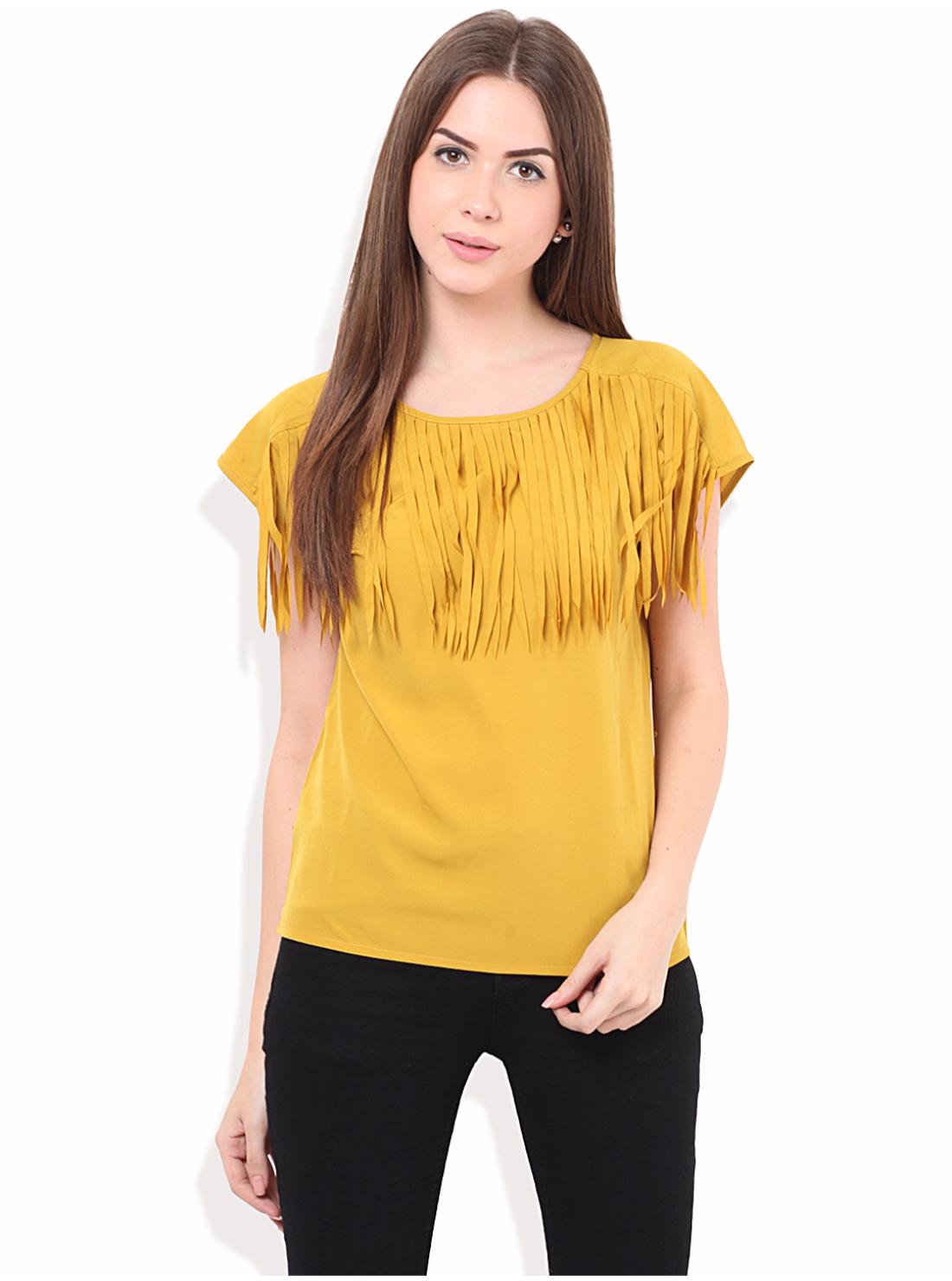 Porsorte   PORSORTE Women's  Polyester Solid Yellow Top