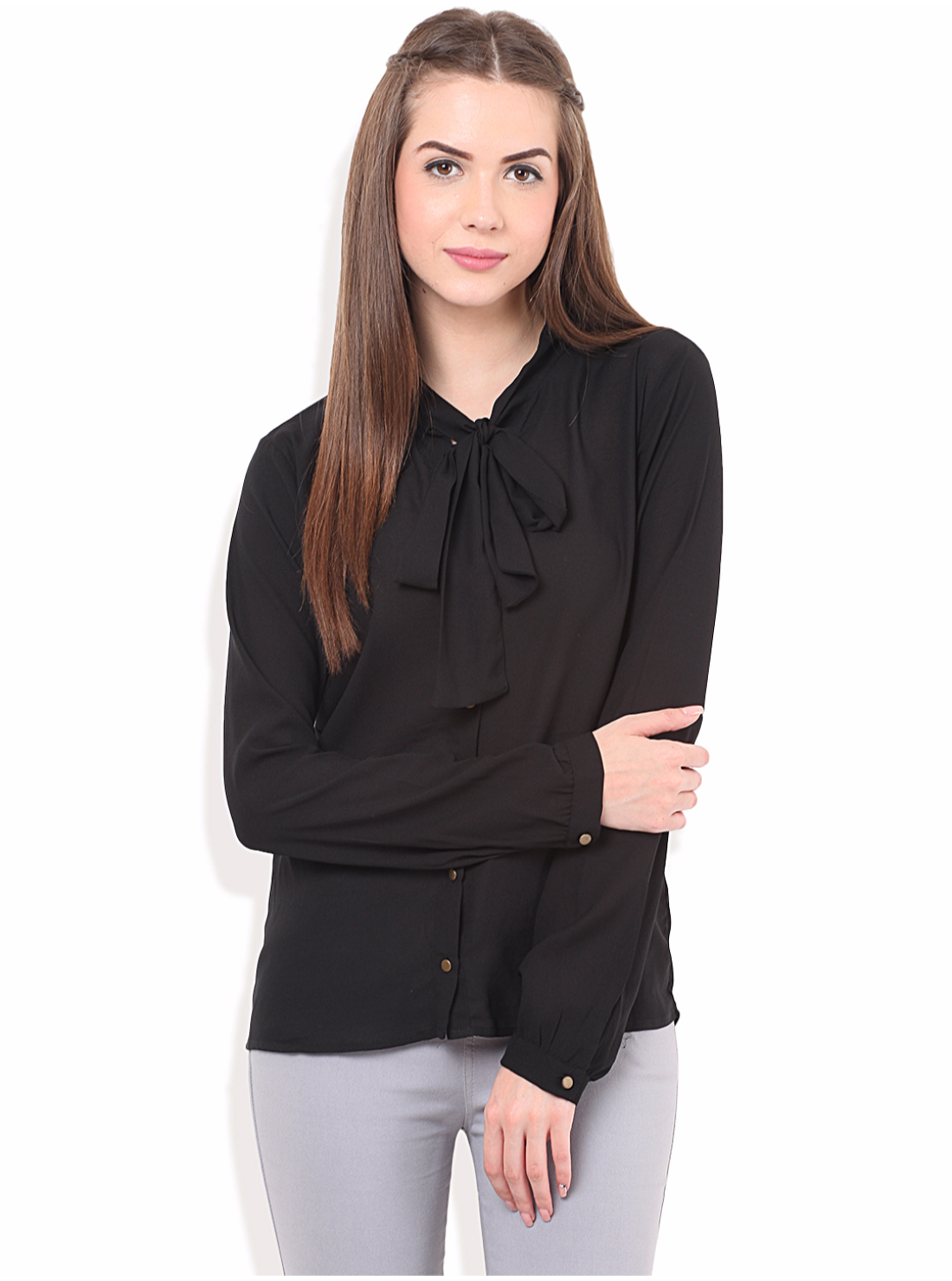 Porsorte | PORSORTE Women's Formal Black Front Tie Knot Shirt