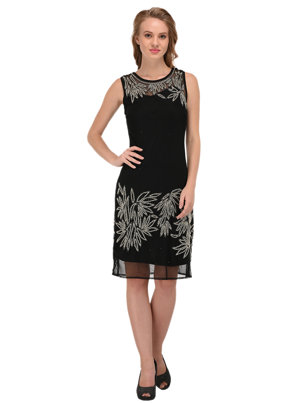 Porsorte | PORSORTE Women A-Line Embellished Black Dress