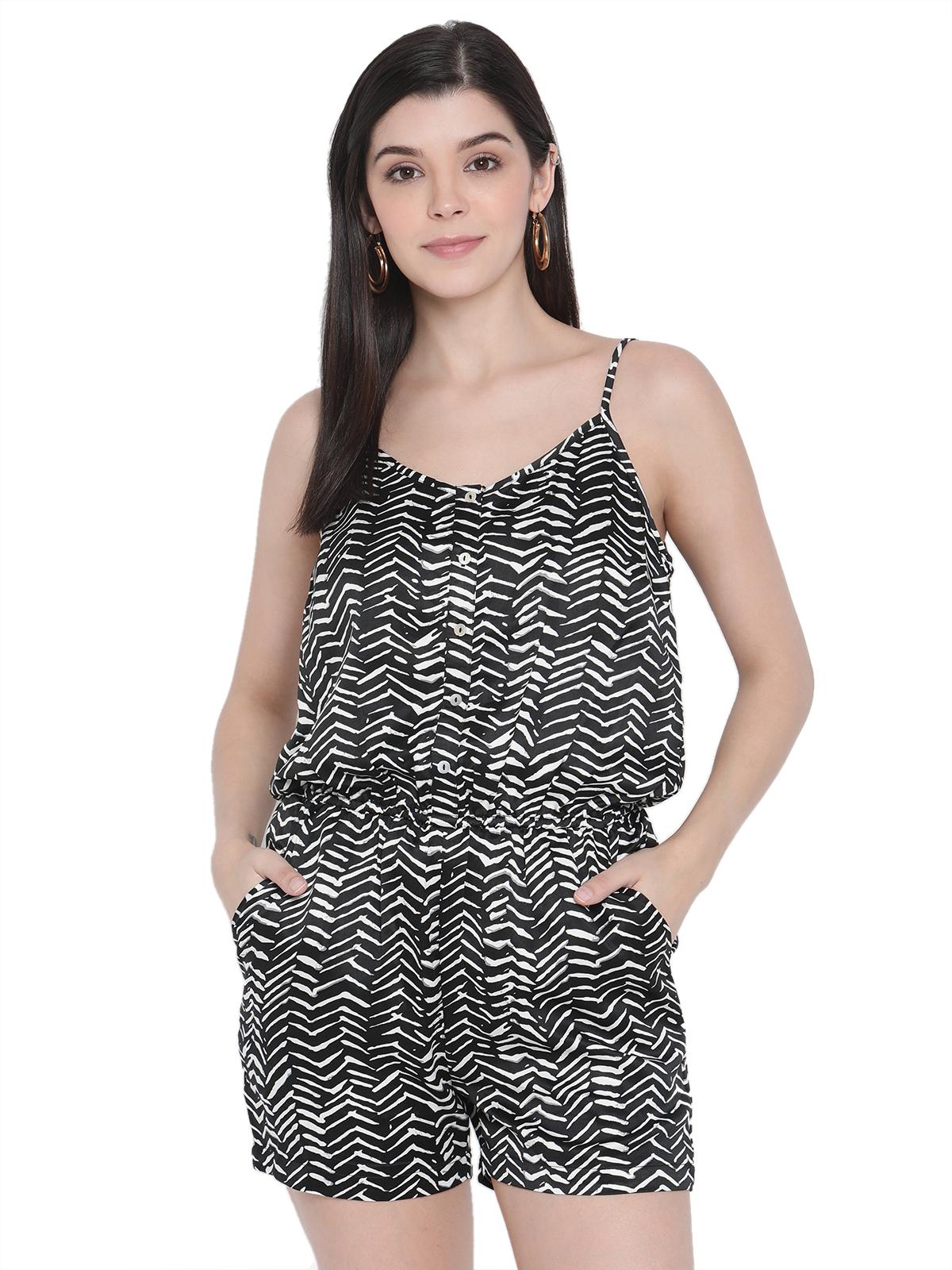 Porsorte | PORSORTE Womens Spagetti Straps Black and White Printed Playsuit