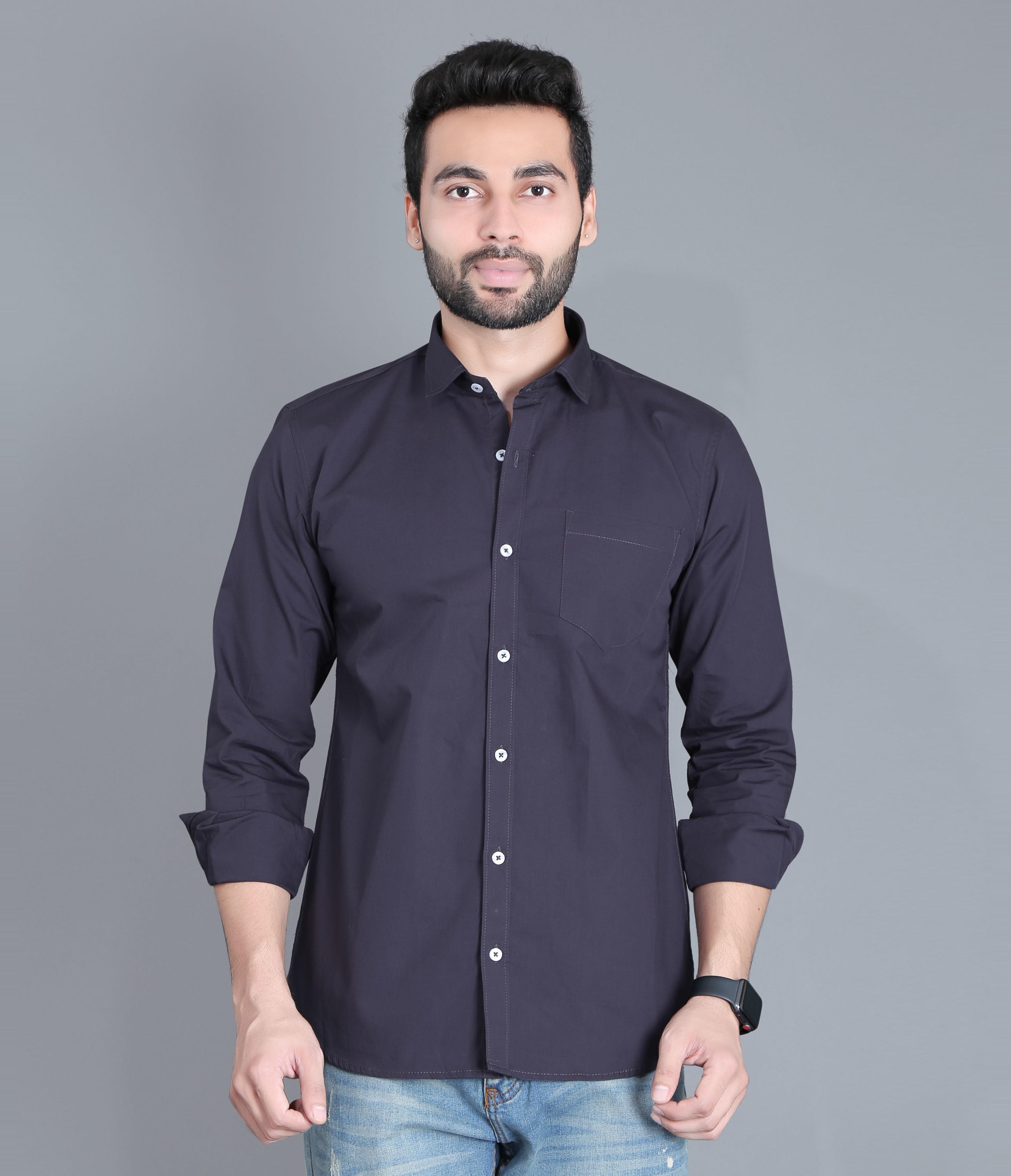 FIFTH ANFOLD Men's Dark Grey Casual Slim Collar Full/Long Sleev Slim Fit Shirt