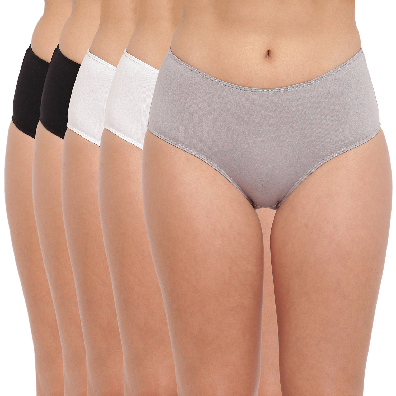 BASIICS by La Intimo | Tease 2 Please Hipster/ Full Brief Black-White-Grey (Pack of 5)
