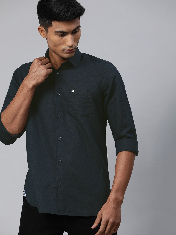 The Bear House | Men's Blue Solid Cotton-Linen Casual Shirt