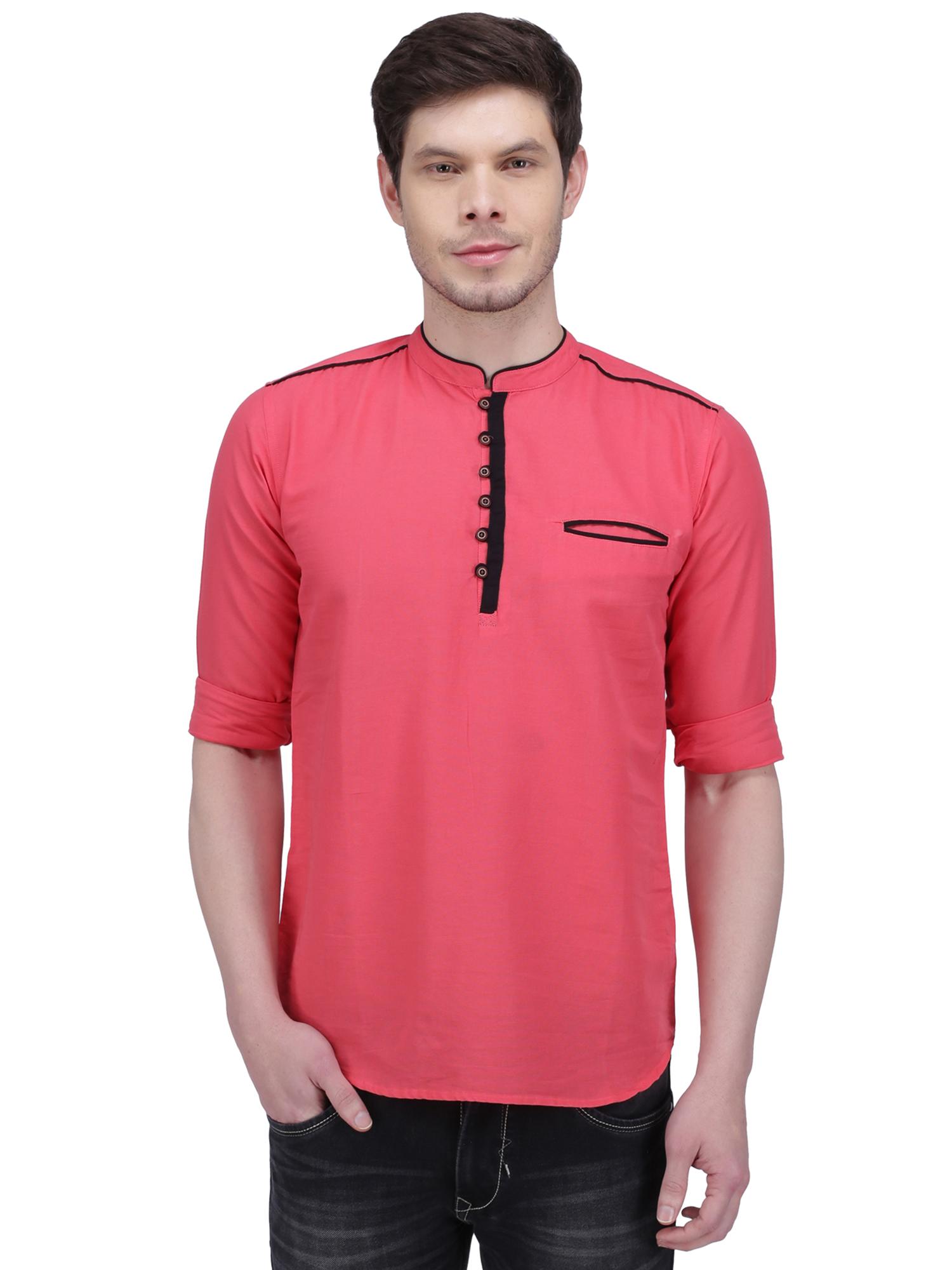 Kuons Avenue | Kuons Avenue Men's Salmon Pink Linen Cotton Short Kurta- KACLFS1155PK