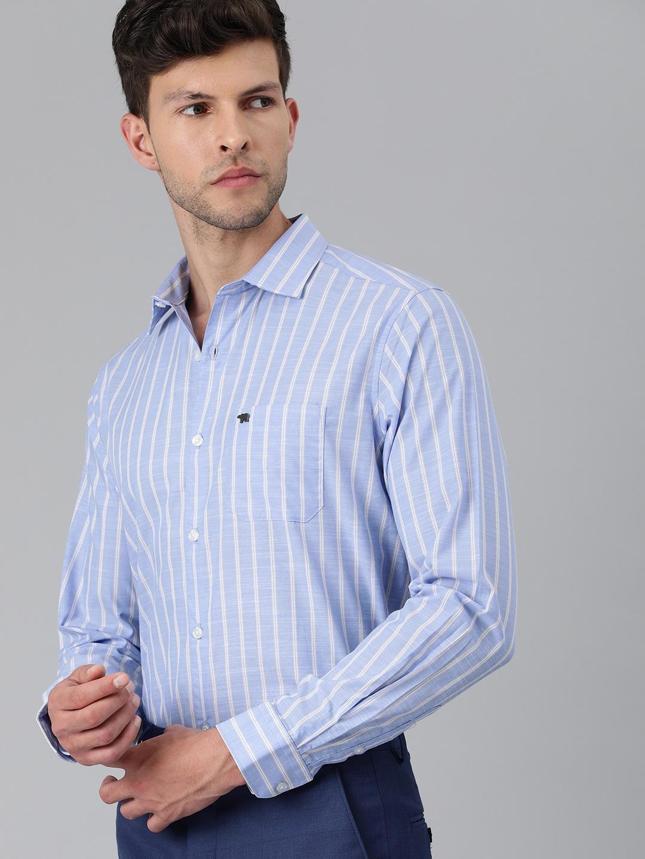 The Bear House | Men's Blue Striped Formal Shirt