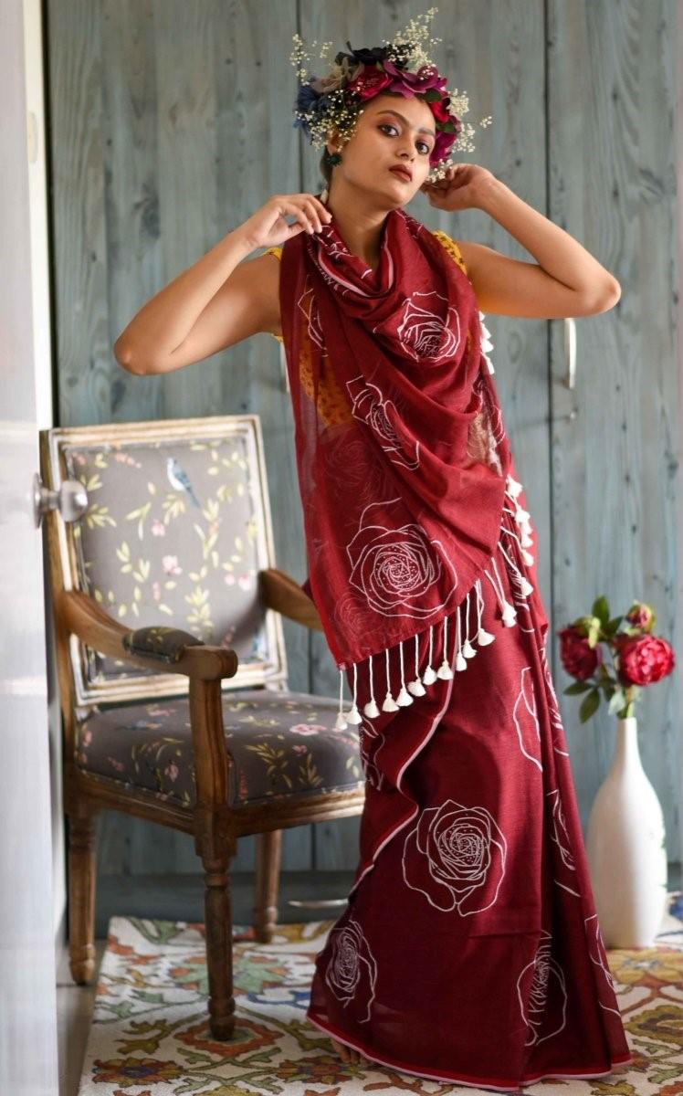 SATIMA | Red Linen Printed Saree