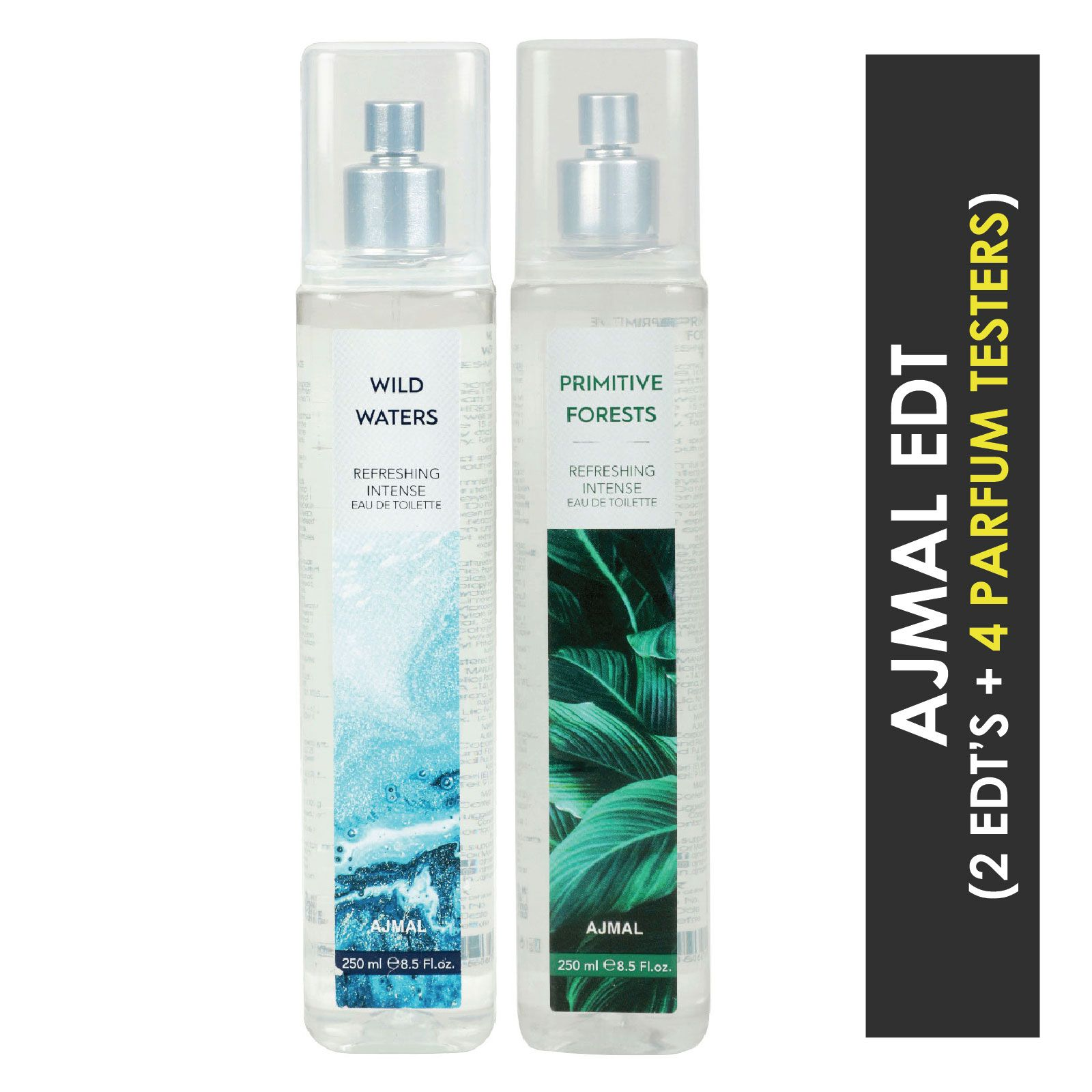 Ajmal | Ajmal Wild Waters & Primitive Forests EDT  pack of 2 each 250ml (Total 500ML) for Unisex + 4 Parfum Testers