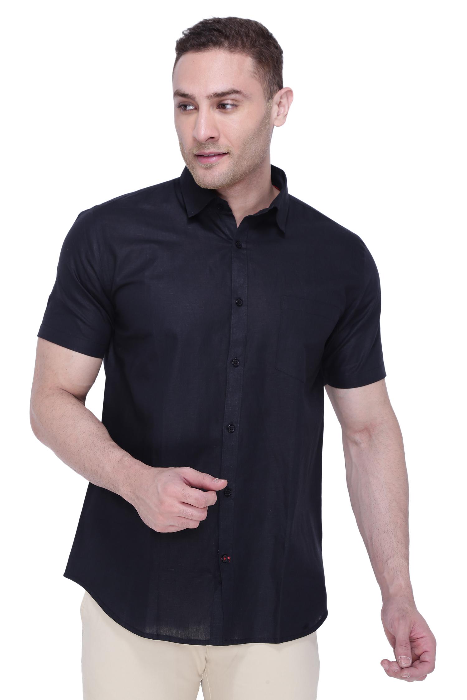 Southbay | Southbay Men's Black Half Sleeve Linen Cotton Formal Shirt-SBCLHS230BL