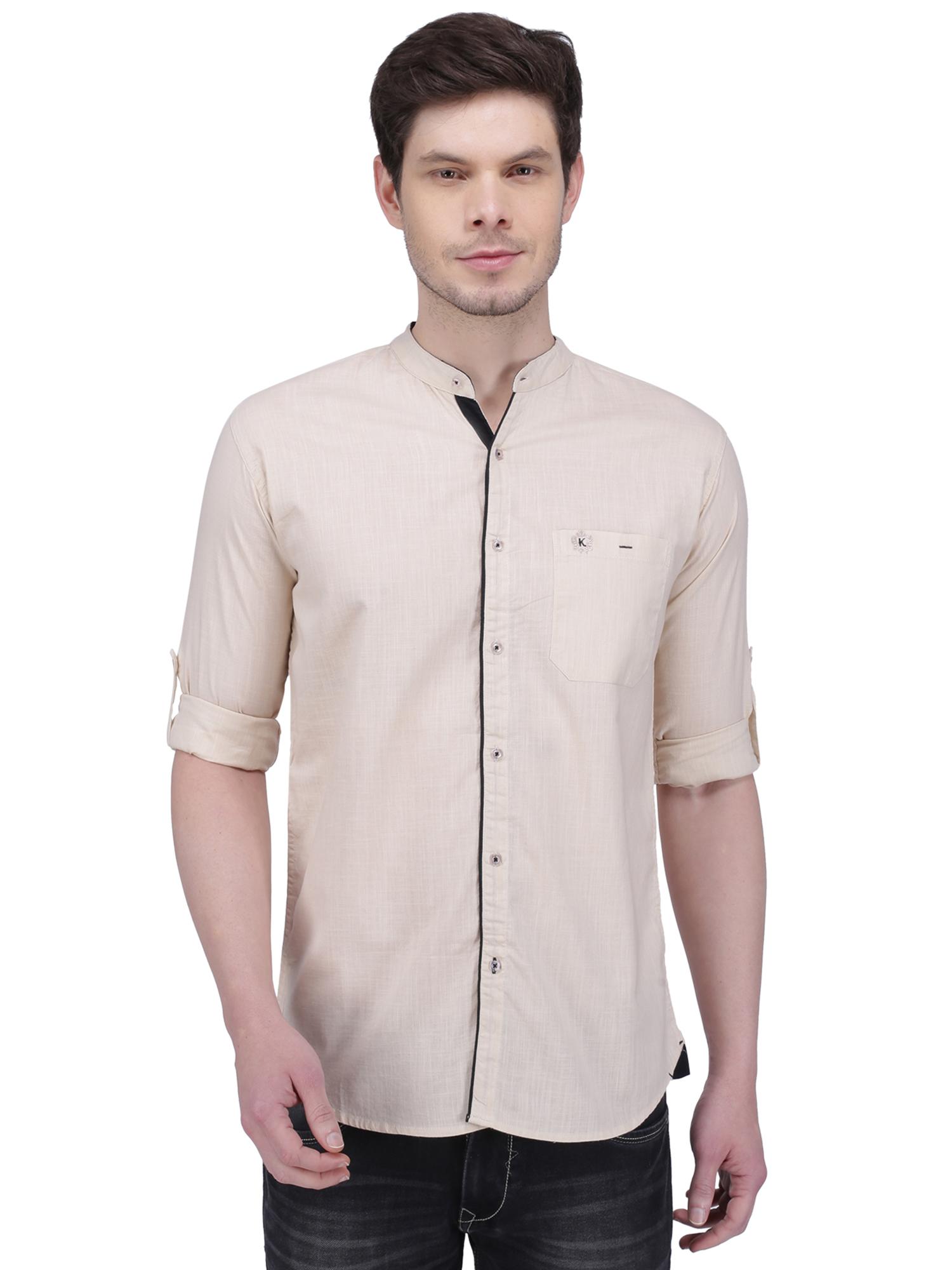 Kuons Avenue | Kuons Avenue Men's Light Beige Linen Cotton Casual Shirt- KACLFS1290BE
