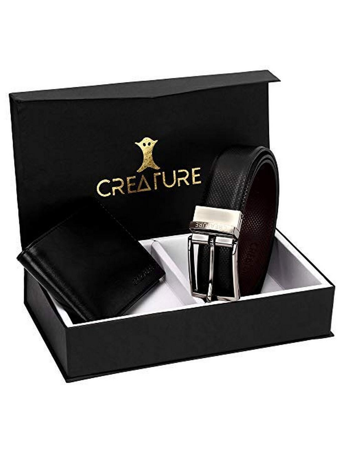 CREATURE   CREATURE Combo of Black Color Wallet for Men and Black-Brown Diamond Print Reversible Belt for Men