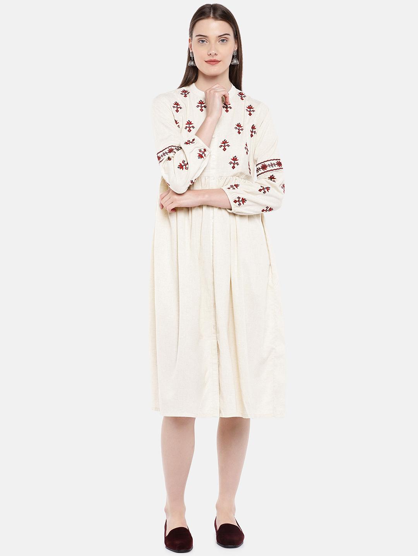 Ethnicity | Ethnicity Ecru Cotton Flax Women Dress