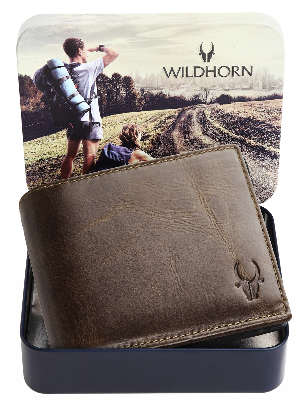 WildHorn   WildHorn RFID Protected Genuine High Quality Leather Embossed Brown Wallet for Men
