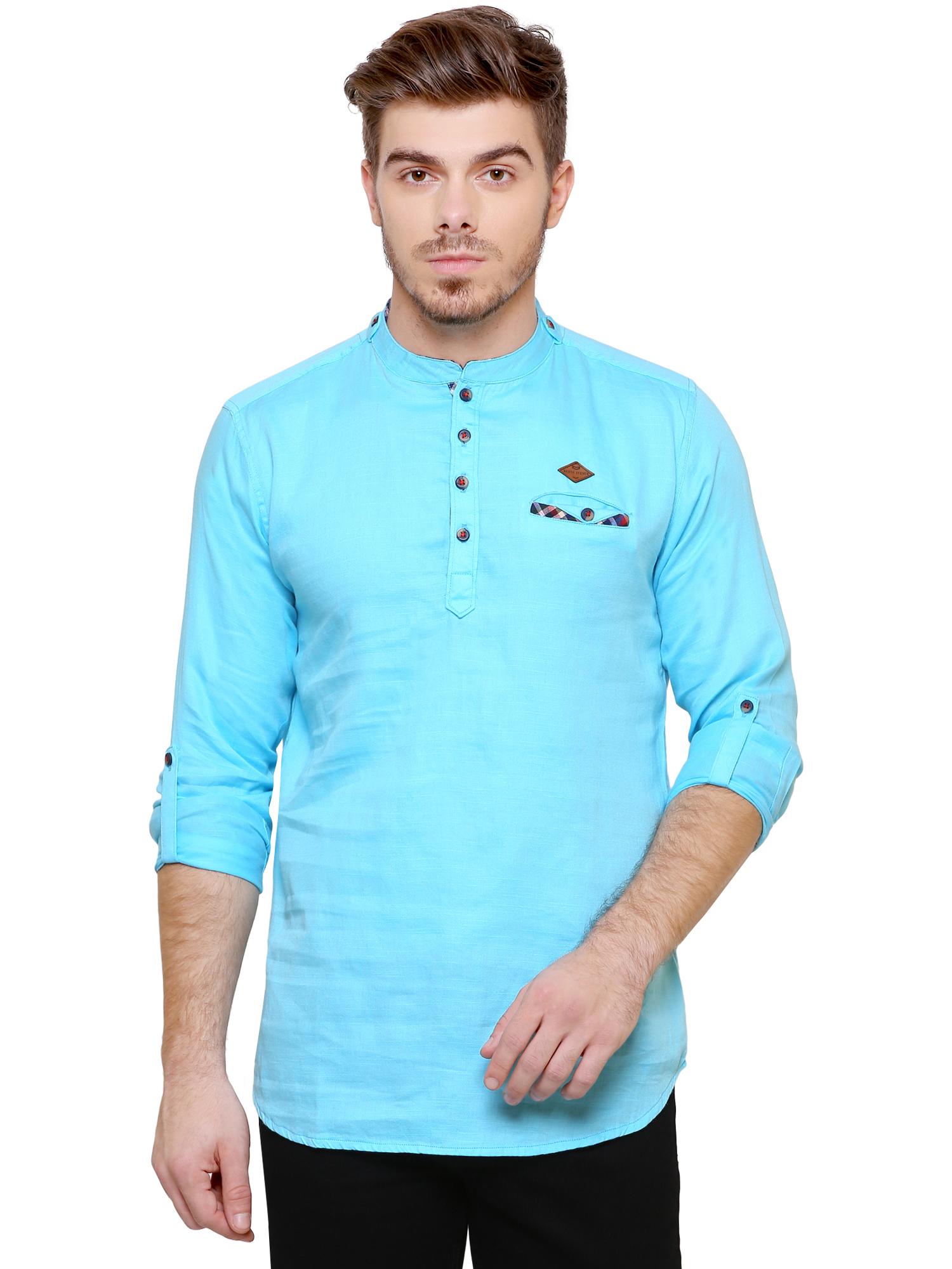 Kuons Avenue | Kuons Avenue Men's Turquoise Blue Casual Cotton Kurta- KACLFS1261TQ
