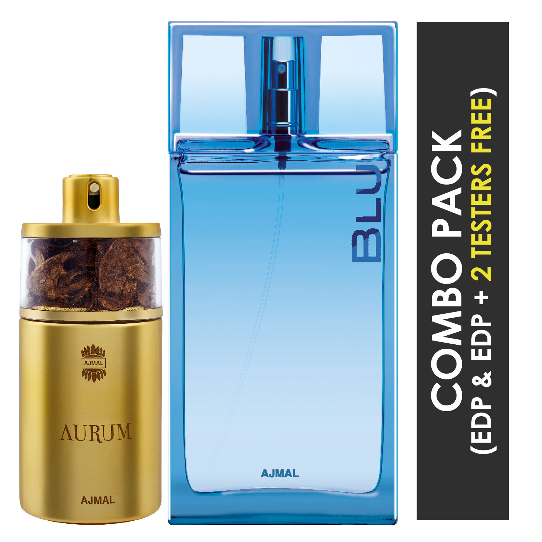 Ajmal | Ajmal Aurum EDP Fruity Floral Perfume 75ml for Women and Blu EDP Aquatic Woody Perfume 90ml for Men + 2 Parfum Testers FREE