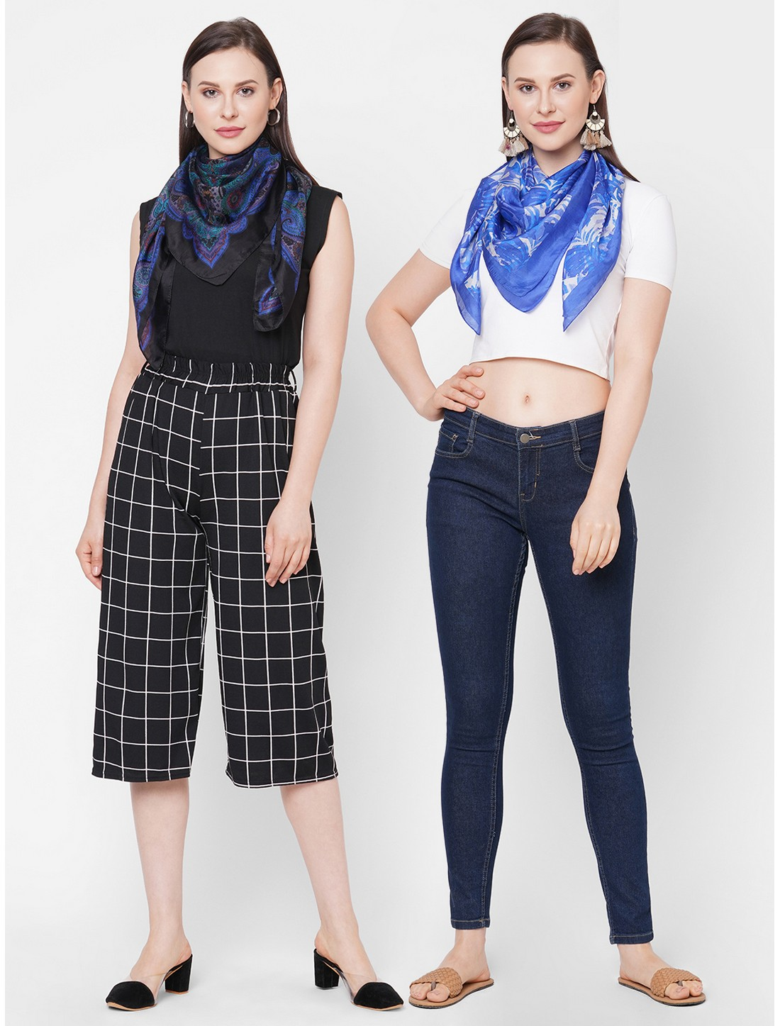 Get Wrapped | Get Wrapped Soft Silk Square Scarf For Women - Combo Pack of 2