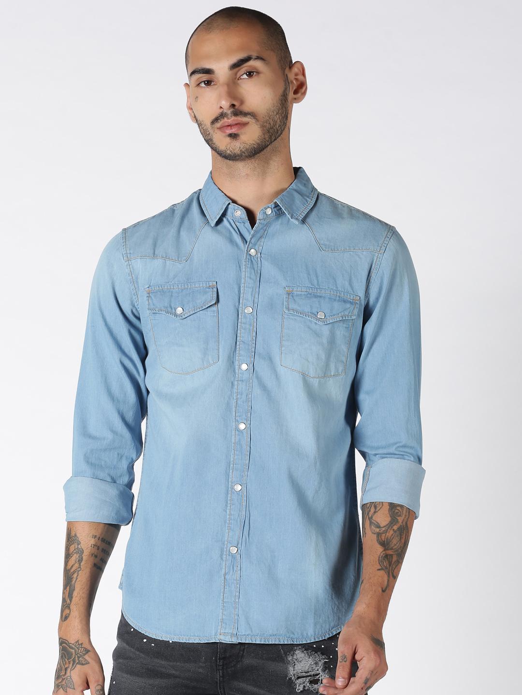 Blue Saint | Blue Saint Men's Blue Regular Fit Shirts