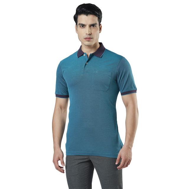 Raymond | Blue Solid Polo T-Shirt