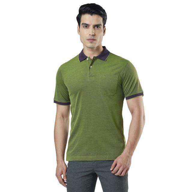 Raymond | Green Solid Polo T-Shirt