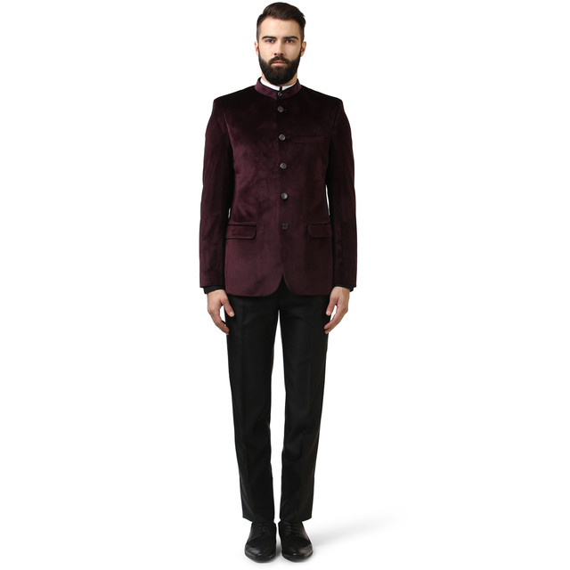 Raymond | Dark Maroon Solid Five Buttoned Suit