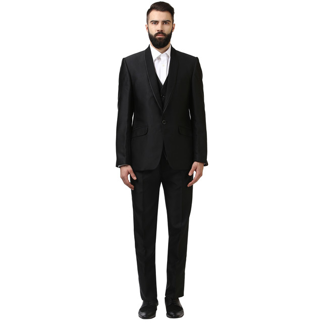 Raymond   Black Solid Contemporary Fit One Buttoned Suit