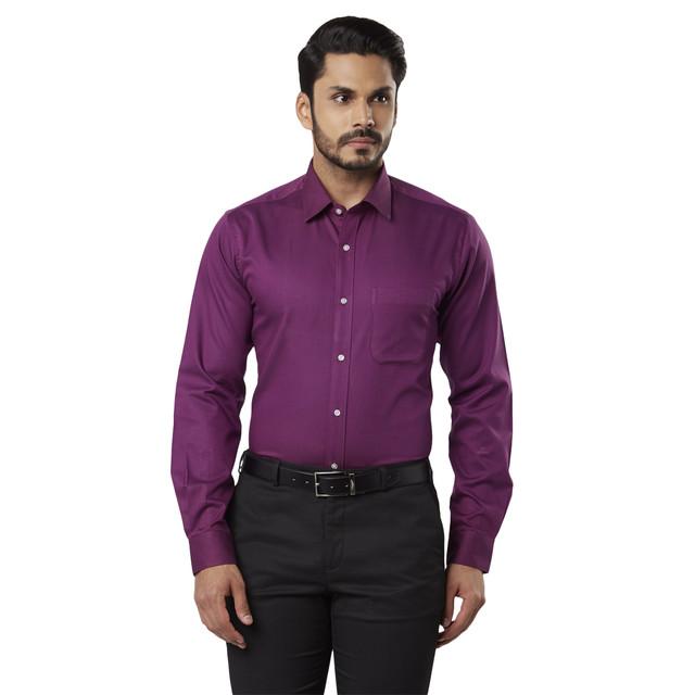 Purple Solid Formal Shirt