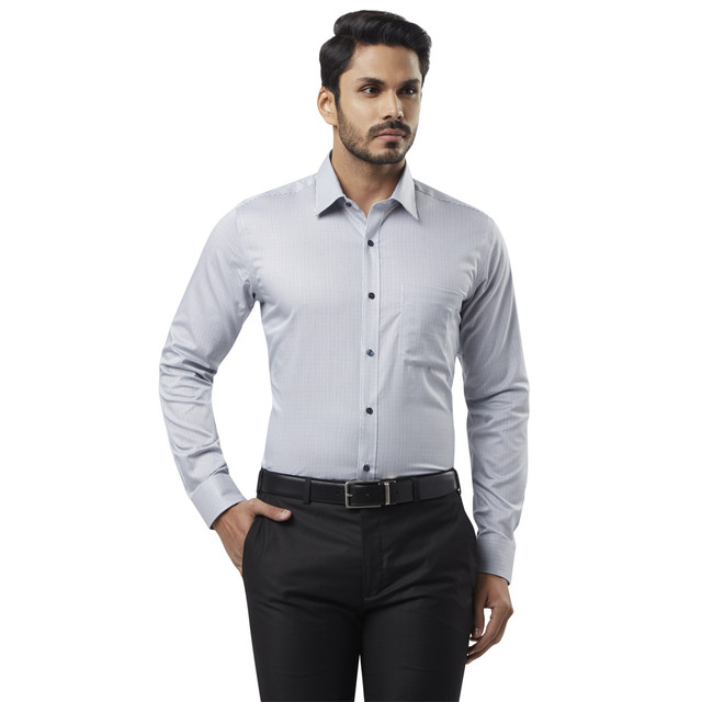 Raymond   Grey Checked Formal Shirt